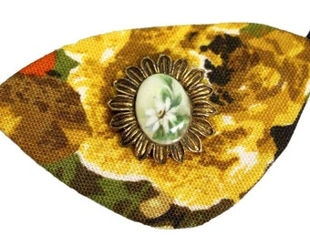 Yellow Cameo Eye Patch Floral Gold Victorian Steampunk Pirate Fashion Cosplay