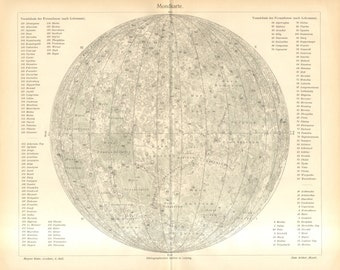 1905 The Surface of the Moon Original Antique Map