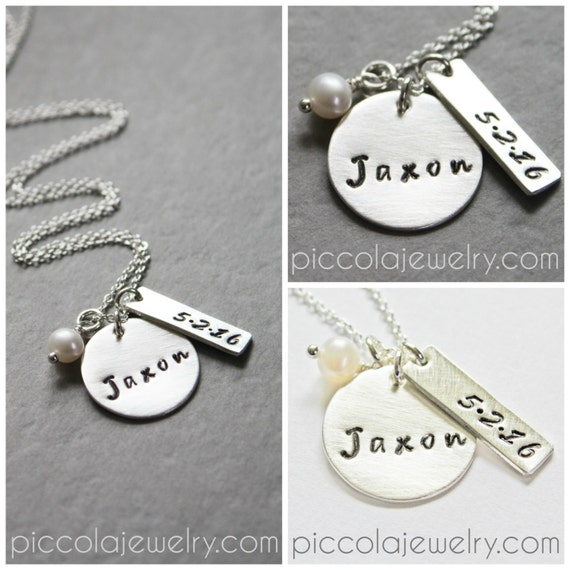 Silver Baby Name And Birthdate Necklace Personalized