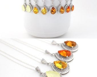 Fall Bridal Jewelry Set, Orange Earrings and Necklace Set, Yellow Wedding Ideas, Tangerine Jewelry for Bridesmaids, Swarovski Jewelry Gift
