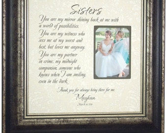 Personalized Gift for Sister on Wedding Day, Maid of Honor Sister Gift, Bridesmaid Sister Wedding Gift, Sister Thank You Wedding, 16 X 16