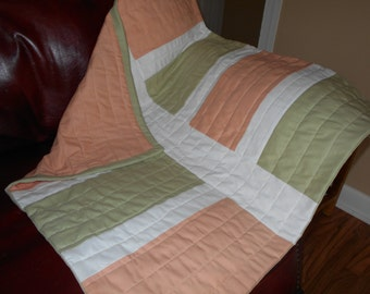 Baby quilt, modern baby quilt, quilt, baby, 32x30, ready to ship, peach, sage green, white