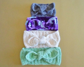 Crochet Pattern Retro Ridged Tie Up Head Wrap