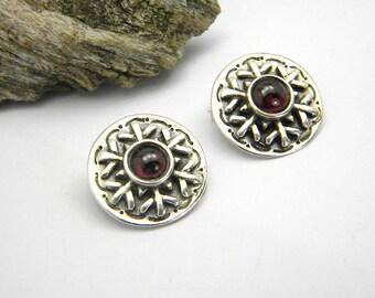 Sterling silver clip on earrings  garnet clip earrings antique style round earrings  for unpierced ears, clip garnet earrings garnet jewelry