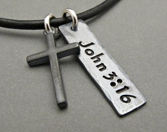 Mens Cross Necklace - Mens Cross Jewelry - Cross Pendant - Boy Gift - Gift for Men - Custom Jewelry - Father's Day Gift - Cross Charm