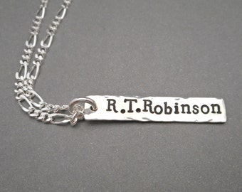 Silver Mens Necklace - Personalized Jewelry - Mens Jewelry - Hand Stamped - Name Necklace - Family Jewelry - Gifts for Him