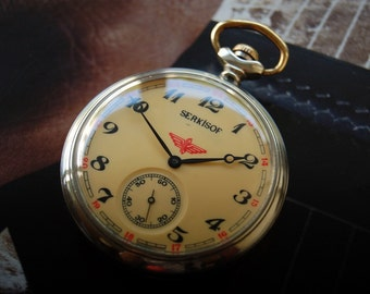 "Serkisof Railway Vintage Pocket Watch ""FREE SHIPPING"""