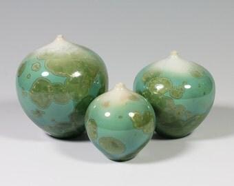 Set of Three Jade Crystalline Glazed Bottles