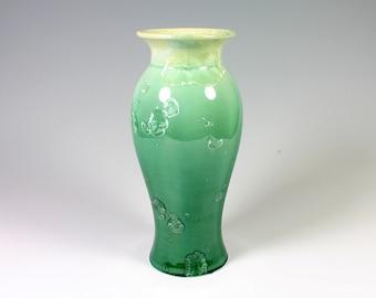 Emerald Gradient Crystalline Glazed Vase