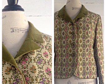 Vintage Floral Tapestry Waist Jacket w/ Moss Velvet Collar by Loden Frey Munchen