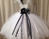 Boutique Style Flower Girl Black & White Tulle Tutu dress- Size 18-36 mos Custom Order Available