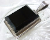 Vintage Onyx Sterling Pendant,Frame Sterling Pendant