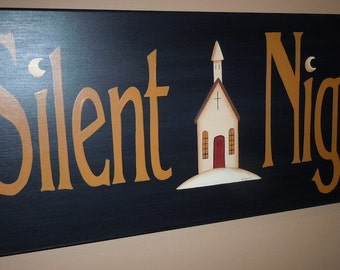 Primitive Folk Art Silent Night Sign with Church and Moons, Wooden Hand Painted in Acrylics