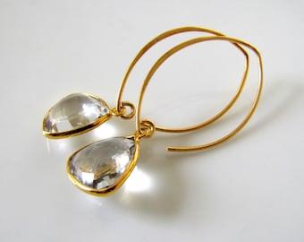 Rock Crystal Earrings Gemstone Jewelry 14k Gold Earrings Long Earrings Drop Earrings Dangle Earrings Bridal Earrings Maid of Honor Gift