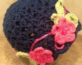 Lacey Navy Crochet Beanie with Fushia Flowers Sage Green Leaves on and embroidered stem OOAK