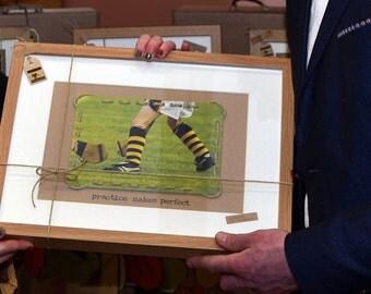 Practice Makes Perfect Framed Picture - Kilkenny Hurling - GAA Keepsake  - Handmade in Ireland