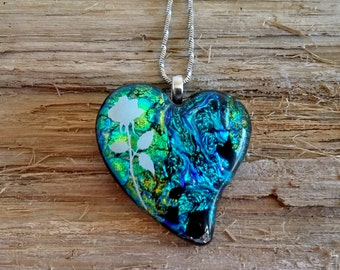 Blue and green dichroic fused glass heart, with stainless steel chain 007