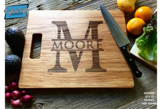 Simple Monogram - Personalized Cutting Board, Engraved Cutting Board, Personalized Wedding Gift, Housewarming Gift, Anniversary Gift