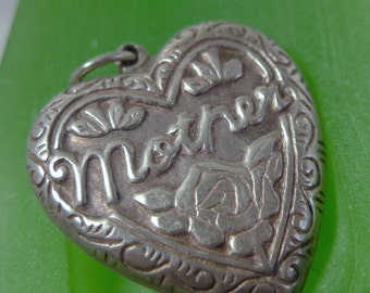 Vintage Floral Heart Pendant: Sterling Silver PAJ Puffy Light Heart For Mother (66012)