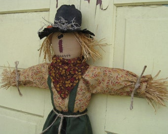 Primitive Hanging Scarecrow  Doll Door Hanger - Fabric - Fall Door Greeter - Halloween