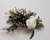 Dried flower comb Bridal Wedding hair Accessory seeded eucalyptus white rose Hairpiece comb woodland rustic country western barn party