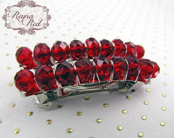 Birthstone Crystal Barrettes - January - Garnet - Set of 2 - faceted crystal barrettes for girls, teens, and women by reynared