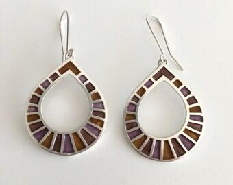 drop sterling silver earrings - orchid brown enamel - author jewelry
