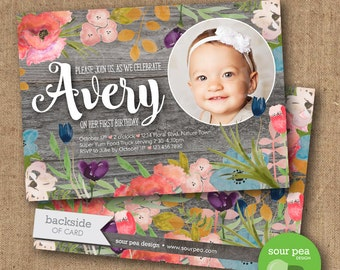 "Birthday Invitation - Custom DIY Printable Invitation - ""Rustic Floral"""