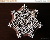 THANKSGIVING SALE Hand Carved Indian Wood Textile Stamp Block- Round Floral Motif