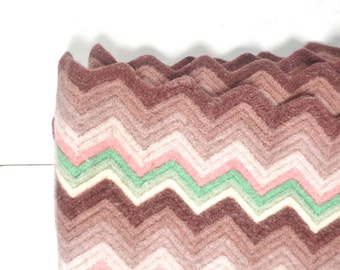 Crochet Throw Blanket Rug - 1970s Thick Felted Vintage Chevron Stripe Blanket - Retro Pink Rose Green
