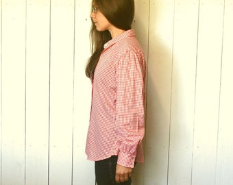 Gingham Check Button Up Wrangler 70s Vintage Red White Pearl Button Western Shirt Large