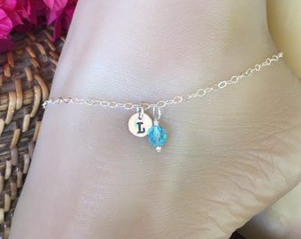 Beach Anklet Sterling Silver with monogrammed charm and colorful bead. Adjusts up to 10 1/2 inches.  Custom inital A to Z ankle bracelet