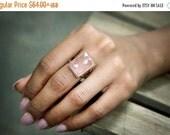 SUMMER SALE - rose quartz ring,large cocktail ring,rectangular ring,rose gold ring,statement ring,gemstone ring,love ring,lovers r