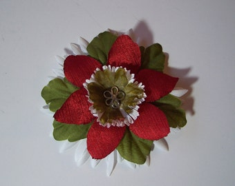 Holiday Flower Accessory, Red Green and White Flower Pin or Hair Clip