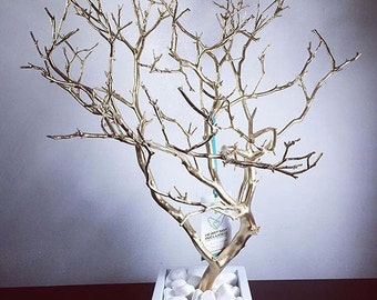 "19"" Gold w/white box Painted Jewelry Tree Accessory holder / Jewelry Organizer"