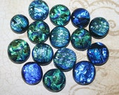 15 medium sized fused glass Dichroic Cabochons - blue green mix -  (D251)