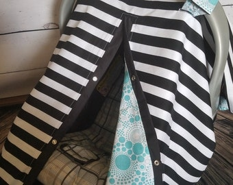 Carseat Canopy Black Stripe Aqua Spiral REVERSIBLE 2 covers in 1 READY to SHIP