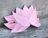 Pink Lotus Leather Hair Slide