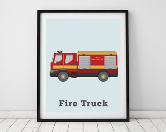 Fire truck print, Transportation wall art, Boys Room, Fire engine, Nursery wall decor, Rescue vehicle, Fire truck wall art, Gifts for boys