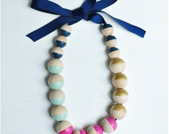 Navy Ribbon, Chunky Wood Necklace
