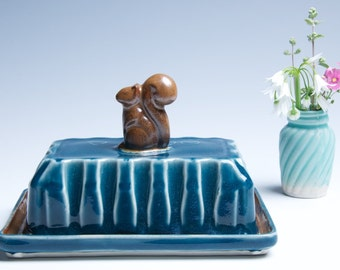 Porcelain Ceramic Butter Dish / Sapphire and Brown Squirrel