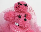 Kitsch Fifties Style Pink Toilet Tissue Poodle Cozy, Toilet Paper Roll Poodle Cozy, Toilet Roll Cover, Crochet Poodle Cozy