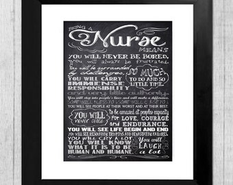 Personalized Chalkboard Nurse Rules 16 x 20 - Subway Sign Art Print - Wall Art - Gift for Nurse - Graduation Gift Sale