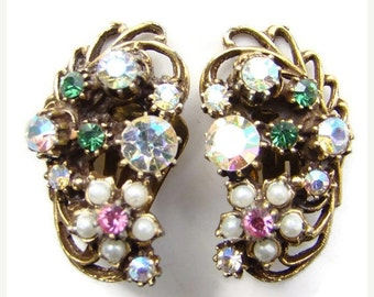 ON SALE Vintage Florenza Climber Clip Earrings Pink Rhinestone Faux Pearl Book Piece