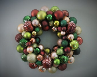 AUTUMN Wreath BROWN, Dark Green, Champagne, LIME Green Ornament Wreath Fall Wreath