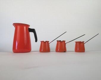 Orange Enamelware Pitcher and Turkish Coffee lbrik set