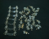 Lot of Vintage Clear Glass Drawer Pulls and Knobs-7 Glass Pulls/30 Glass Knobs