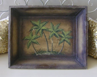 Distressed Palm Tree Tray / Wall Hanging