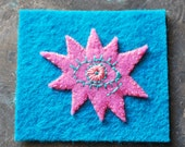 WIDE AWAKE Eye Hand Embroidered Felt Art Patch, Bubblegum Pink & Teal