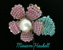 Miriam Haskell Beaded Flower Pin // Pink Turquoise White Pearl